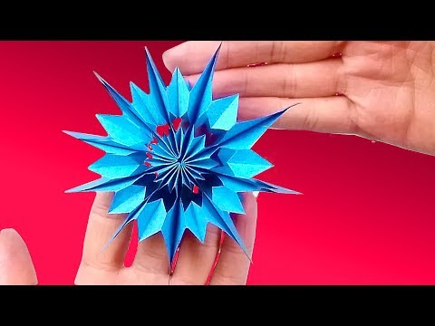 Modular 3d origami snowflake frozen easy star paper tutorial. Christmas diy paper snowflakes