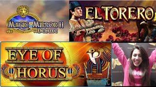 Beatriz abre 3 bonus - Magic Mirror Deluxe II - Eye of Horus - El Torero