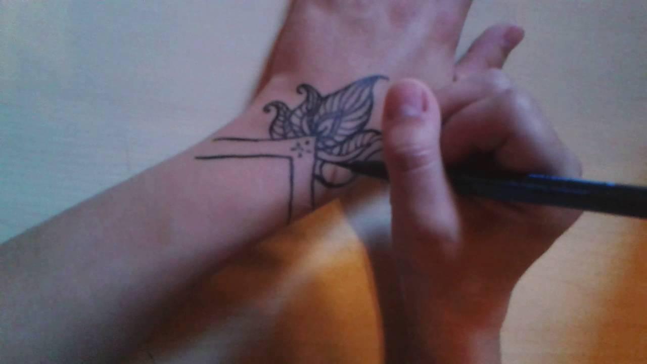 Henna Tattoo Mit Eyeliner Youtube