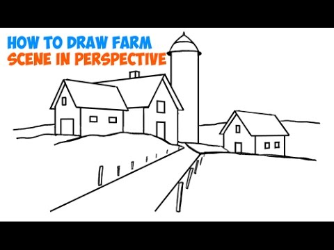 How To Draw Scenery Of Farm Scene 3 Point Perspective Step By Tutorial For Beginners And Kids