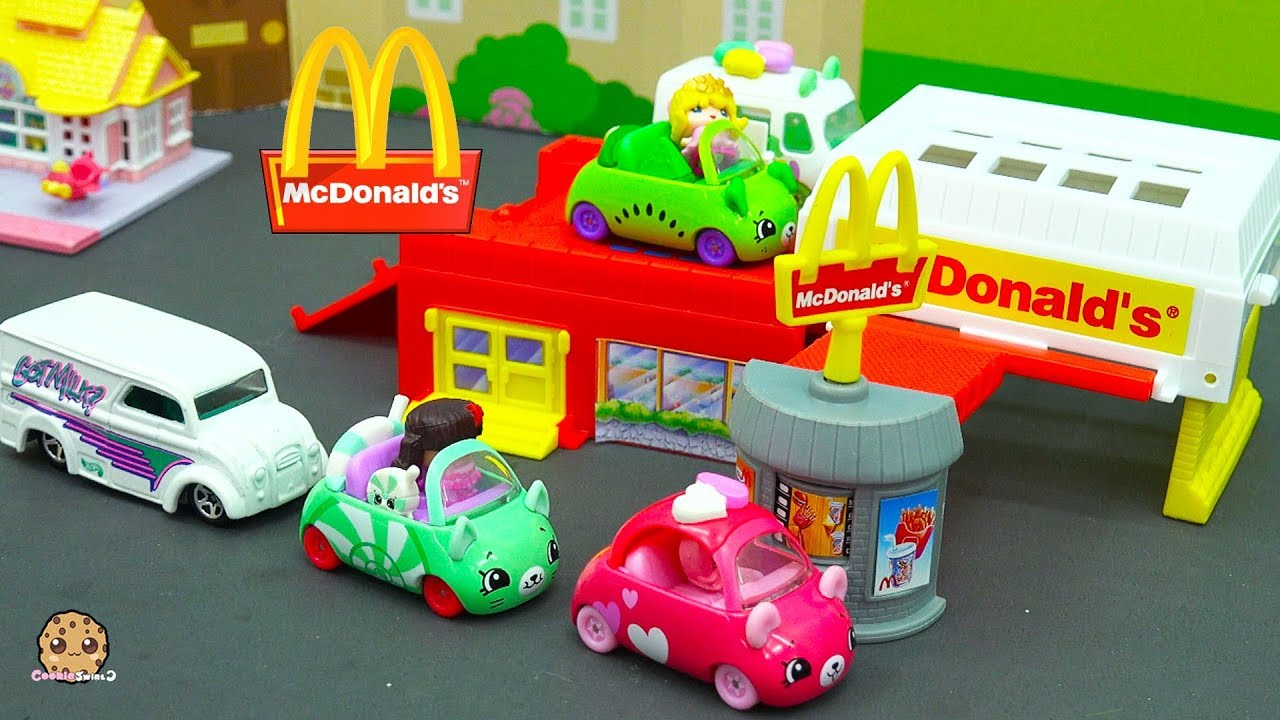 Shopkins Cutie Cars Order Food Through McDonalds Drive Thru with My Mini MixieQ's