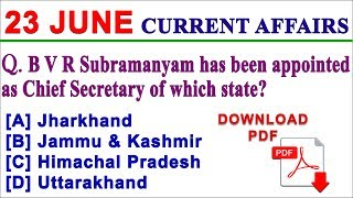 23 June 2018 Current Affairs | Daily Current Affairs | Current Affairs in English