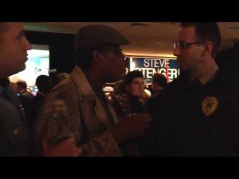 Police tell activist Derek Laney that Robert McCulloch and Steve Stenger told him to leave party