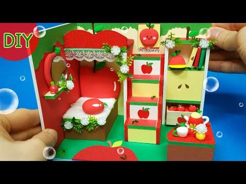 DIY Miniature Dollhouse -  Apple room decor ! Red Red apple ~