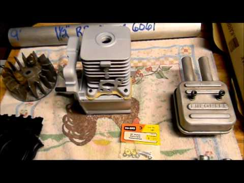 Homelite 25CC weedwacker engine being converted for giant scale RC models movie