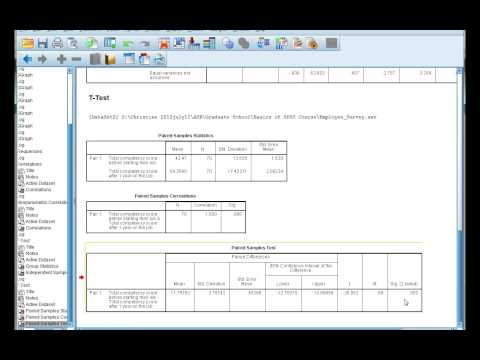 Interpret SPSS output for a paired t-test