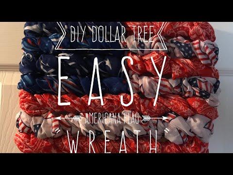 """DIY Dollar Tree Easy American Flag """"Wreath"""""""