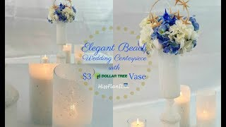 Tall Dolphin Beach Wedding Centerpiece with $3 Vase  Dollar Tree DIY   DIY Tutorial