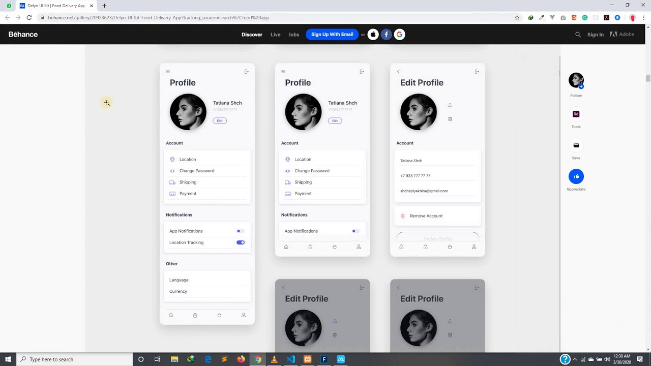 Food Delivery App - 16 : Designing the Profile Page - Part 1
