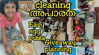 How I Store/Organize My Makeup|Cleaning vlog|Giveaway planing|Easy healthy egg pizza|Asvi Malayalam