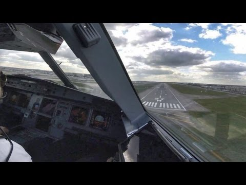 Airbus A321 - Cockpit Landing at London Heathrow Airport - Pilot