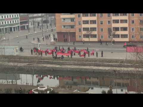 Morning in Pyongsong, North Korea: Propaganda performance: 2 of 2