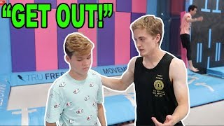 SNEAKING INTO A TRAMPOLINE PARK! *CAUGHT*