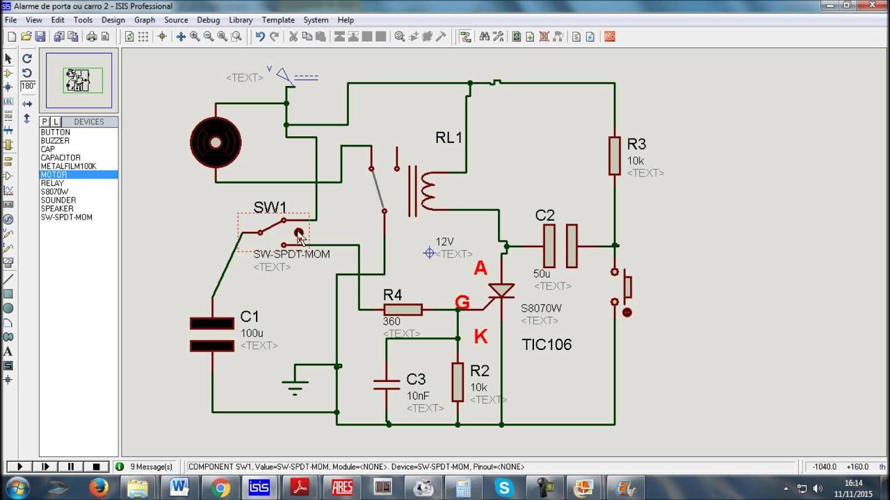 Circuito Com Scr Tic 106 : Bloqueador alarme simples com scr tic youtube