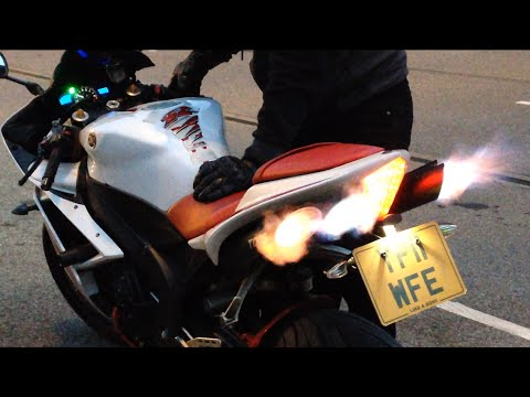 Yamaha R1 popping flames decat toce exhaust