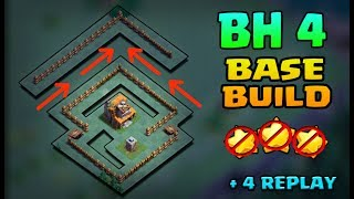 Clash of Clans | New Builder Hall 4 (BH4) Troll base+Replays | Anti 2 Star Base With Replays