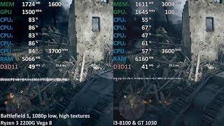 Ryzen 3 2200G OC iGPU vs. GT 1030 (i3-8100) in 7 Games. Gaming Benchmarks