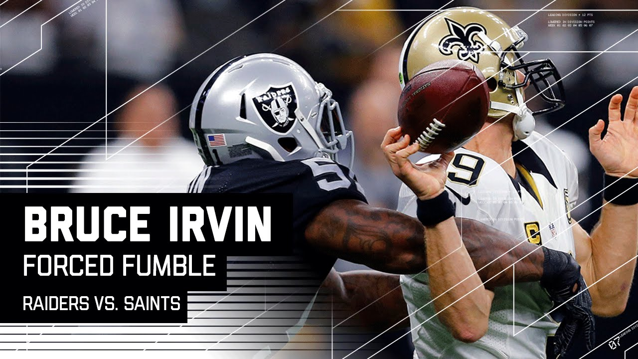 Bruce Irvin Sacks Drew Brees & Forces Fumble