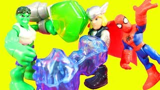 Marvel Playskool Heroes Green Goblin Takes Down Spider-man Copter Hulk & Thor Smash To The Rescue
