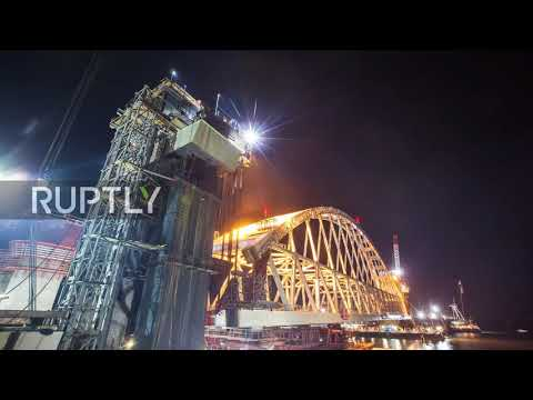 Russia: Stunning timelapse captures support arch mounted on Kerch Strait Bridge