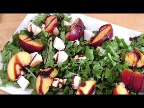 Grilled Peach and Smoked Mozzarella Salad Laura Vitale Laura in the Kitchen Ep 171