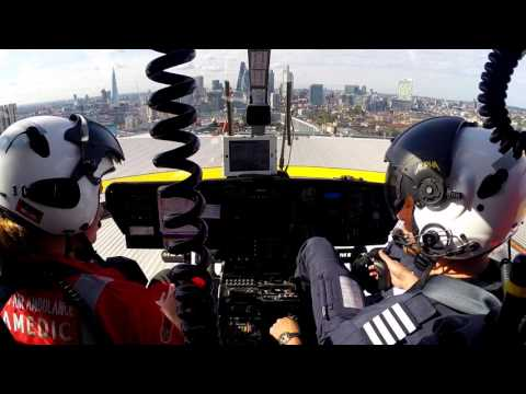 Helimed 55 - Departing the Royal London Hospital on a HEMS tasking