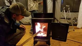 ARMY TENT vs YURT, Hot Shower and a Fireplace?