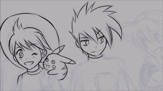 Speed painting red green and yellow Pokemon adventures