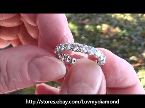 2.5ct VS GH Diamond Eternity Ring Band 14K White Gold Sz6.75 Estate Jewelry