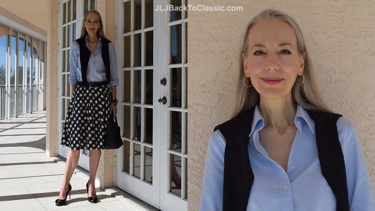 Classic Fashion Over 40 Over 50 How To Style A Midi Skirt Cardigan Oxford Tory Burch Bag