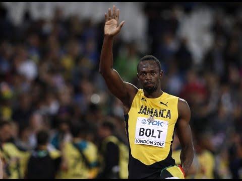 Usain Bolt, the fastest man in history, runs his last 100m dash