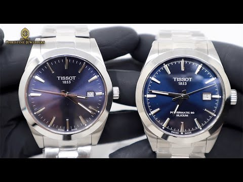 TISSOT GENTLEMAN BLUE DIAL QUARTZ AND POWERMATIC 80 SILICIUM COMPARISON