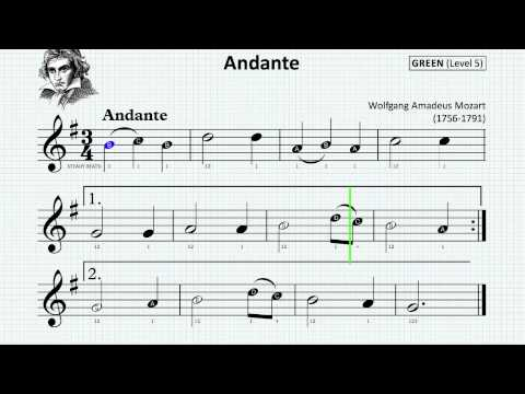 ANDANTE by MOZART [recorder] GABCD 3/4