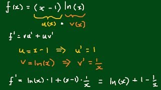 derivative of x 1 ln x applying the product rule