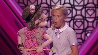 Watch! Darci Lynne's NAUGHTY Old lady Puppet SERENADES Simon Cowell
