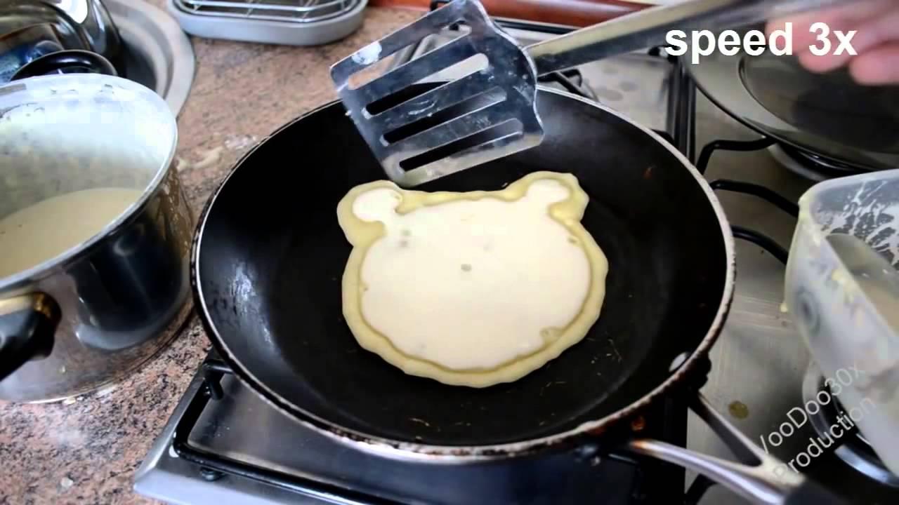 How to make pancakes in fun shapes for kids - Pancake bear - TUTORIAL - YouTube