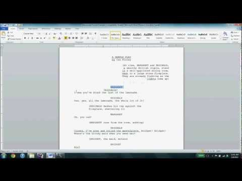 Playwriting Manuscript Format