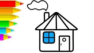 How to Draw Small House Coloring and Drawing Learn colors for Kids | Voving Coloring
