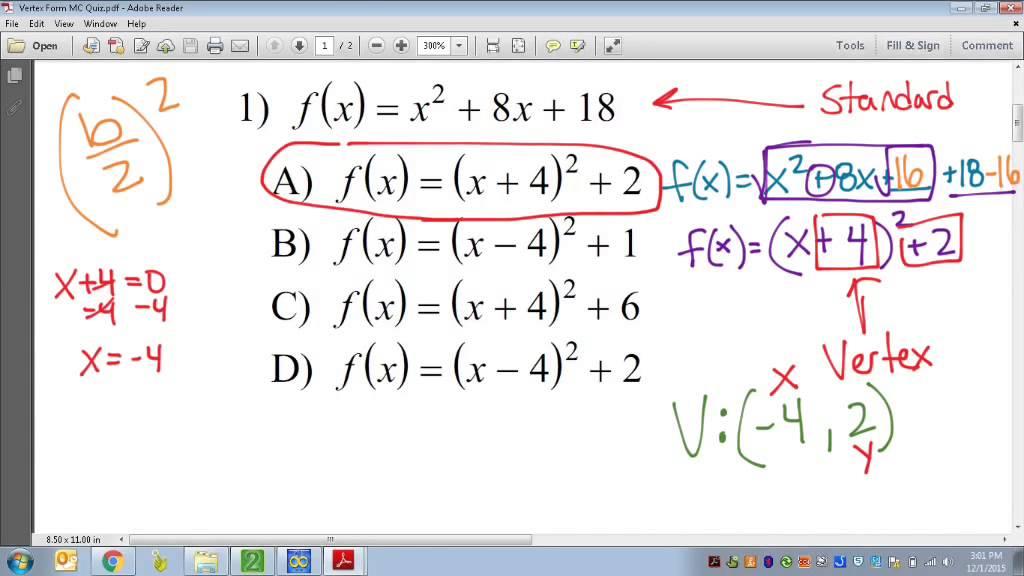 Common core math vertex form of quadratics youtube