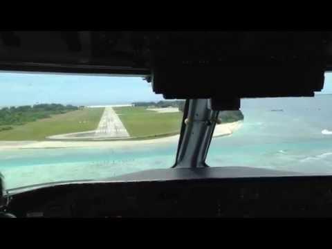 Landing in the Maldives Gan international Airport (cockpit) Dash 8 Q300