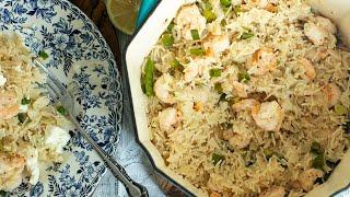 30 Minute Lemony Shrimp & Rice Pilaf