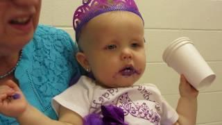 Enjoying 1st Birthday cake