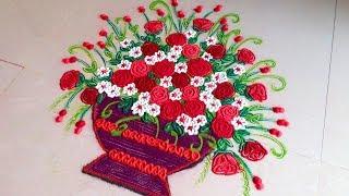 How to draw UNIQUE / Creative FLOWER BASKET Rangoli Designs with colours || #WOW Muggulu | Kolam!