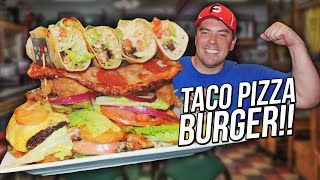 Undefeated Pizza Burger Challenge w/ Street Tacos in Tennessee!!