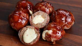 Babybel Balls  -  Moink Balls mit Babybel gefüllt und Bacon umwickelt vom Grill