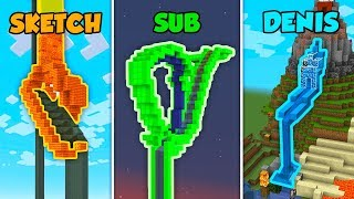 SKETCH vs SUB vs DENIS - WATERSLIDE in Minecraft (The Pals)