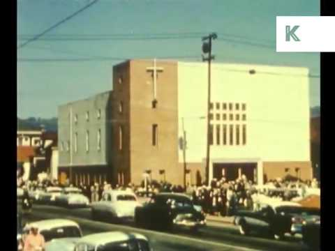1950s African American People Leave Church, Sunday, California, Color Footage