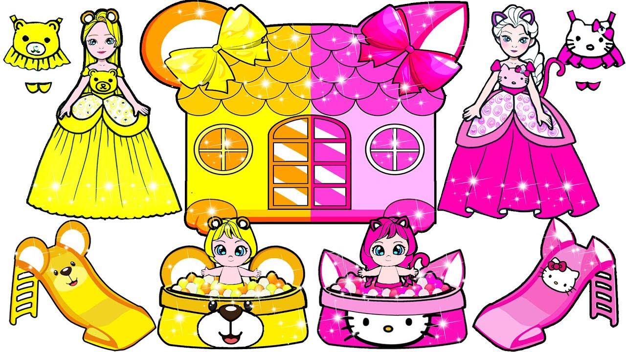 Paper Dolls Dress Up - Pink Elsa & Yellow Rapunzel Dresses Handmade Papercraft - Woa Doll Channel