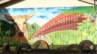 Taller de muralismo en Neltume, XIV Región de los Ríos, Chile