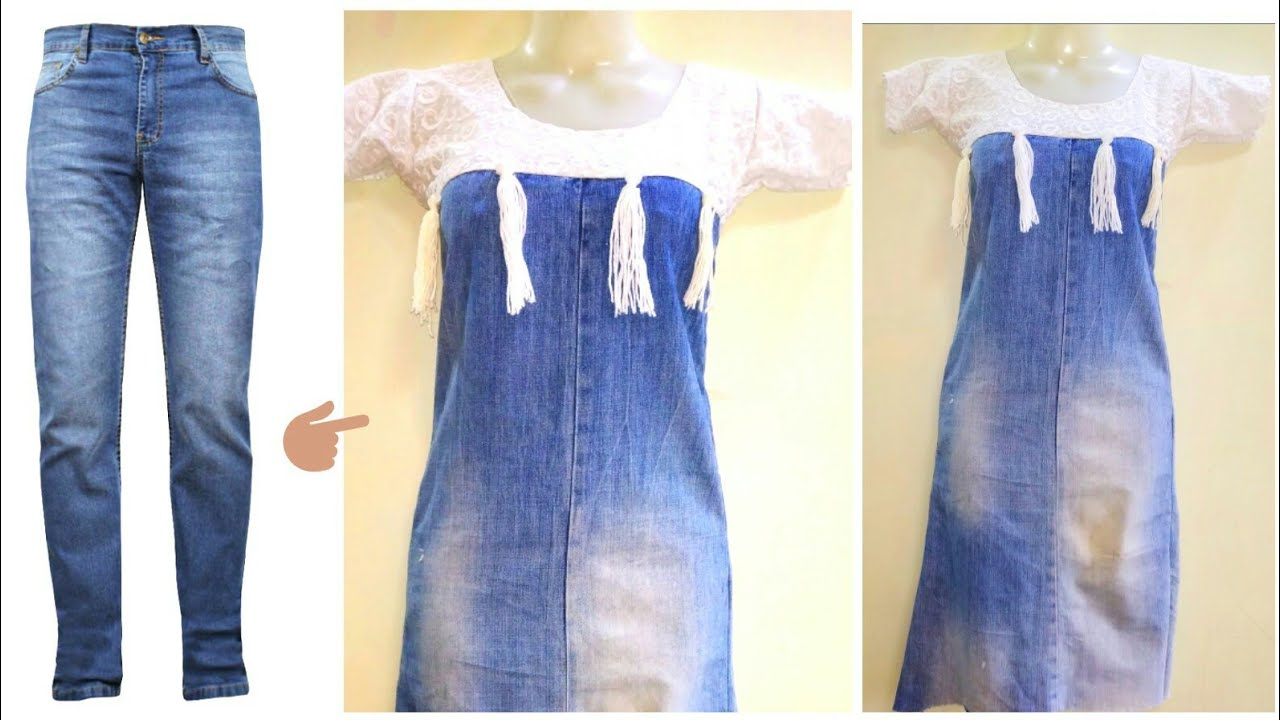 DIY Old Jeans Into denim top/ dress Recycle/Reuse Old ...